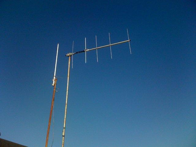 yagi and vhf/uhf antenna. Also long wire in background